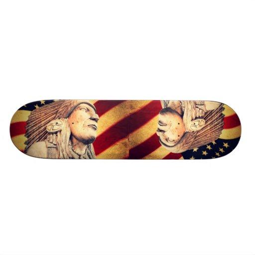 nativo americano patriótico de la bandera rústica  patines