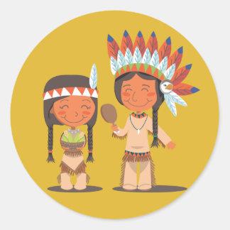 Nativo americano pegatinas redondas