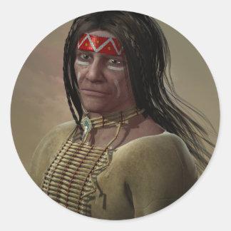 Nativo americano pegatina redonda
