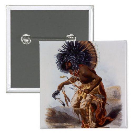 Nativo americano pin cuadrada 5 cm
