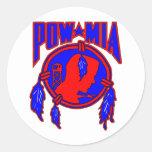Nativo americano POW-MIA indio Pegatina Redonda