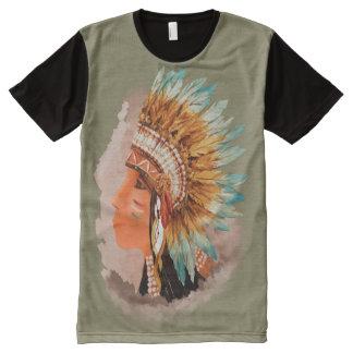Nativo americano Shief por todo la camiseta del