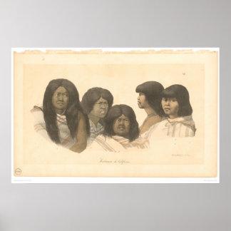 Nativos americanos de California (0685A) Póster