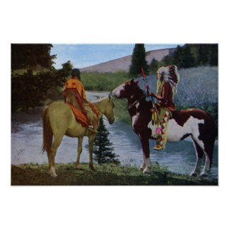 Nativos americanos de los Blackfeet a caballo Poster