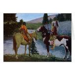 Nativos americanos de los Blackfeet a caballo Felicitaciones
