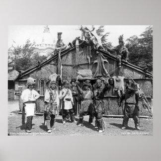 Nativos americanos en la exposición Cacerola-Ameri Póster