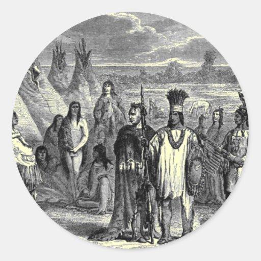 Nativos americanos etiquetas redondas