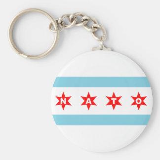 NATO Chicago Flag Basic Round Button Keychain