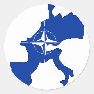 Nato flag map classic round sticker