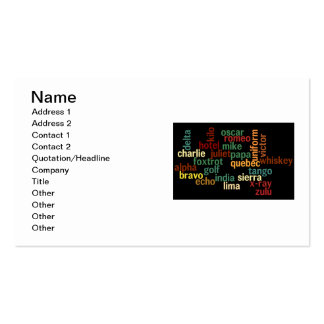 NATO Phonetic Alphabet (Dark Background) Double-Sided Standard Business Cards (Pack Of 100)