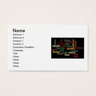 NATO Phonetic Alphabet (Dark Background) Business Card