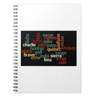 NATO Phonetic Alphabet (Dark Background) Notebook