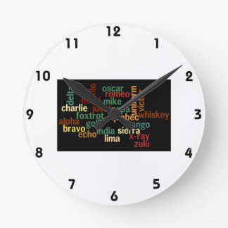 NATO Phonetic Alphabet (Dark Background) Round Clock