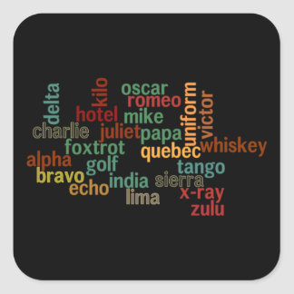 NATO Phonetic Alphabet (Dark Background) Square Sticker