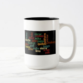 NATO Phonetic Alphabet (Dark Background) Two-Tone Coffee Mug