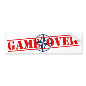 NATO Sign Red Letters Game Over Bumper Sticker