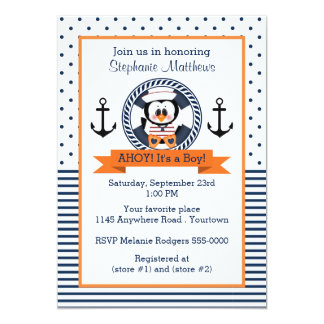 Natuical Penguin Baby Shower 5x7 Paper Invitation Card