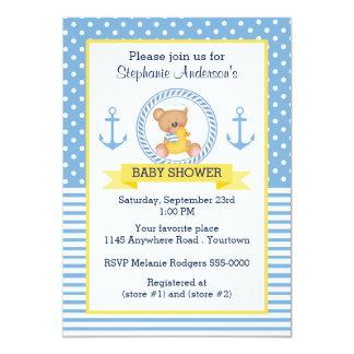Natuical Tedd Bear Baby Shower Card