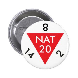 Natural 20 pinback button