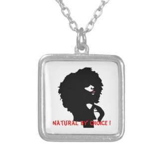 Natural afro chick illustration square pendant necklace