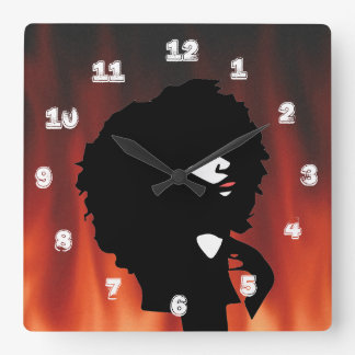 Natural afro chick illustration square wall clock