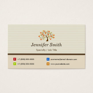 Natural and Elegant Swirl Love Tree Business Card