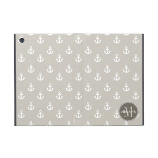 Natural and White Ship Anchors Monogram iPad Mini Cases