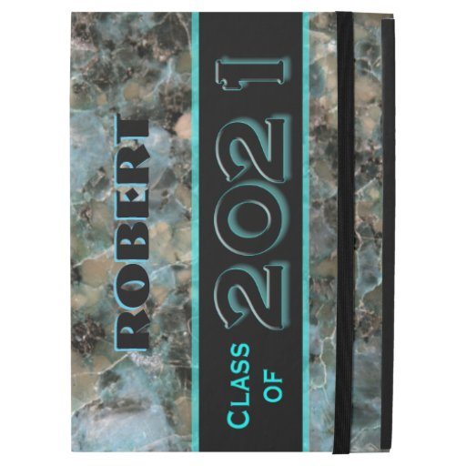 "Natural Aqua and Black 2021 Graduation Custom Name iPad Pro 12.9"" Case"