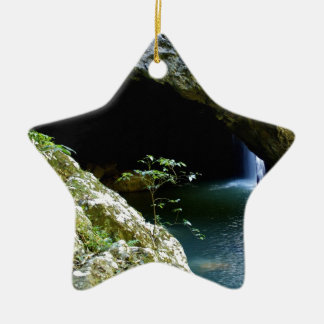Natural Arch waterfall Ceramic Ornament