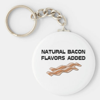 Natural Bacon Flavors Added Basic Round Button Keychain