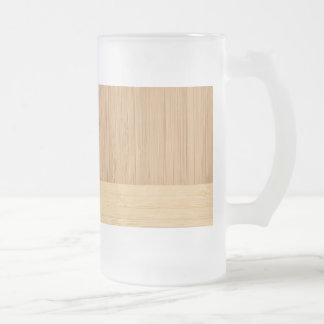 Natural Bamboo Border Wood Grain Look Frosted Glass Beer Mug