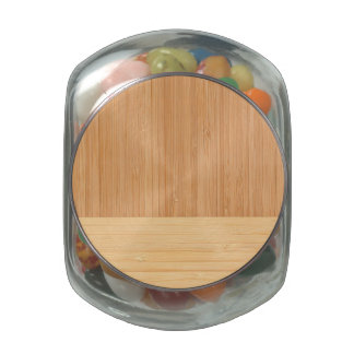 Natural Bamboo Border Wood Grain Look Jelly Belly Candy Jars