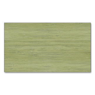 Natural Bamboo Look in Moss Green Magnetic Business Cards