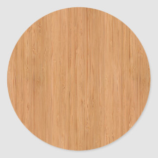 Natural Bamboo Wood Grain Look Classic Round Sticker