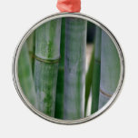 Natural Bamboo Zen Background Customized Template Round Metal Christmas Ornament