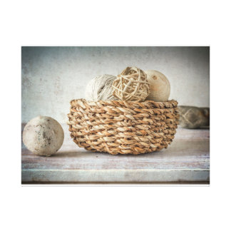 Natural Basket on Whitewash Background Canvas Print