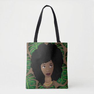 Natural Beauty, Tropical Leaves Pattern Tote Bag