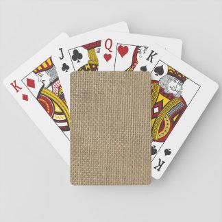 Natural Beige Burlap Poker Deck