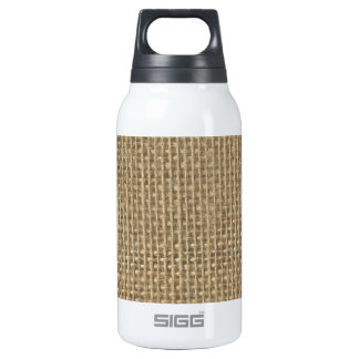 Natural Beige Tan Jute Burlap-Rustic Cabin Wedding 10 Oz Insulated SIGG Thermos Water Bottle