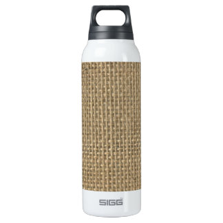 Natural Beige Tan Jute Burlap-Rustic Cabin Wedding 16 Oz Insulated SIGG Thermos Water Bottle