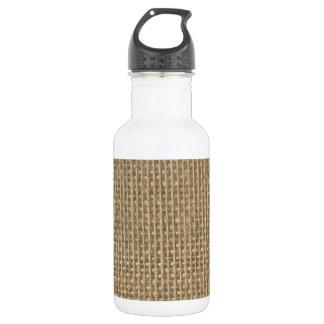 Natural Beige Tan Jute Burlap-Rustic Cabin Wedding 18oz Water Bottle