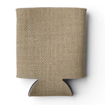 Professional Business Natural Beige Tan Jute Burlap-Rustic Cabin Wedding Can Cooler