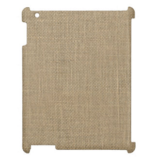 Natural Beige Tan Jute Burlap-Rustic Cabin Wedding Case For The iPad 2 3 4