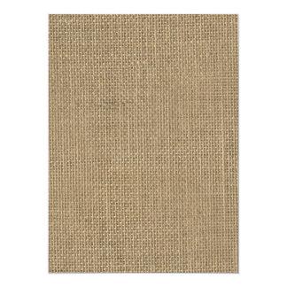 Natural Beige Tan Jute Burlap-Rustic Cabin Wedding 5.5x7.5 Paper Invitation Card