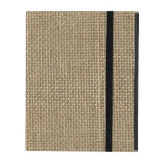 Natural Beige Tan Jute Burlap-Rustic Cabin Wedding iPad Folio Case
