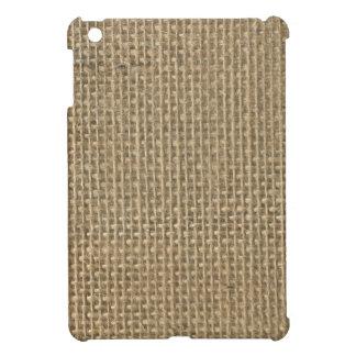 Natural Beige Tan Jute Burlap-Rustic Cabin Wedding iPad Mini Cases