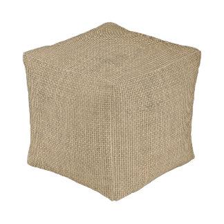 Natural Beige Tan Jute Burlap-Rustic Cabin Wedding Cube Pouf