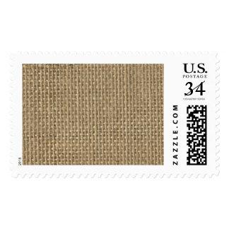 Natural Beige Tan Jute Burlap-Rustic Cabin Wedding Postage Stamp