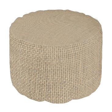 USA Themed Natural Beige Tan Jute Burlap-Rustic Cabin Wedding Pouf