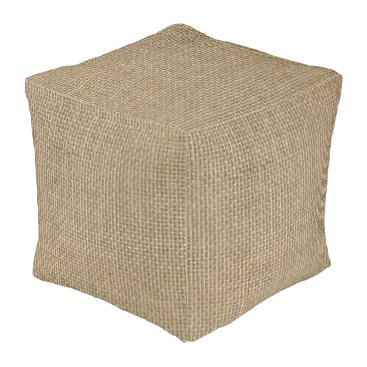Aztec Themed Natural Beige Tan Jute Burlap-Rustic Cabin Wedding Pouf